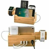 Bambus USB Ladestation Halter Stand Dockstation Für  Watch iPhone MV