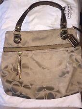 Coach Poppy Signature Glam Tote Satchel Shoulder Bag Purse w/Bronze Straps 18988