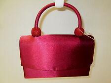 Burgundy Satiny Evening Bag with Beaded Handle, NWT