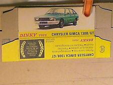 REPLIQUE BOITE SIMCA 1308/1307 / DINKY TOYS 1976