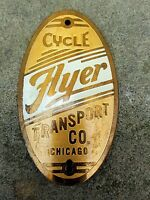 Vintage Flyer Cycle Transport Co., Chicago nameplate / headbadge.