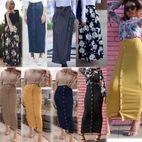 Women High Waist Bodycon Straight Stretch Pencil Midi Skirt Long Slim Skirt New