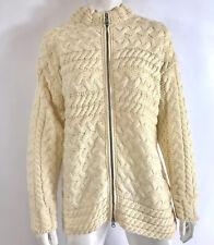 Connemara Knitwear Women Fishermans Sweater Full Zip Merino Wool Ireland Size M
