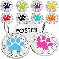 Paw Dog Tag Pet ID Name Personalised Dog Tags Custom Engraved for Puppy Cat Dogs