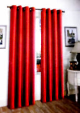"""2PCS MIRA BRIGHT RED SOLID GROMMET FAUX SILK WINDOW CURTAINS PANELS 95"""""""