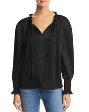 Aqua Womens Satin Smock Cuff Shirt Blouse Top BHFO 3346