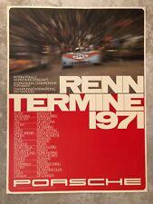 1971 Porsche 908 Renntermine Race Schedule Showroom Advertising Poster RARE!!