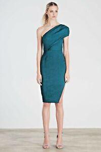 Elliatt Liberty Forest Green Ribbed Crepe One shoulder Knee length Dress