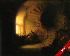 REMBRANDT OLD MAN IN PRAYER PAINTING CHRISTIAN BIBLE ART REAL CANVAS PRINT