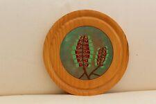 Vintage Enamel on Copper Decorative Wooden Plate