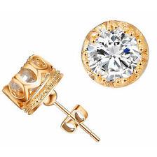 Fashion Jewelry Women Men Crystal Crown Charm Earrings Gold Ear Studs BY157