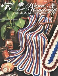 Warm & Wonderful Mile~A~Minute  6 Annie's Attic Crochet Afghan Patterns Leaflet