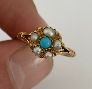 18ct Gold Victorian Natural Turquoise & Baroque Pearl Cluster Ring, 18k 750