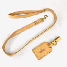 """Vintage 30"""" Hartmann Tan Leather Brass Luggage Suitcase Pull Along Strap ID Tag"""