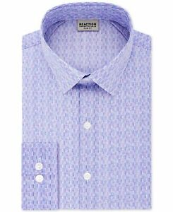 Reaction Kenneth Cole Mens Dress Shirt Purple Size 15 1/2 Geo Print $69 #394