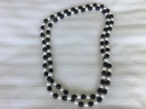 Classic Freshwater Pearl & Black Faceted Agate Necklace rrp $250