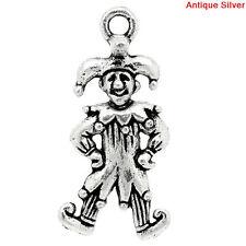 6 Silver Metal COURT JESTER CLOWN Charm Pendants chs1200