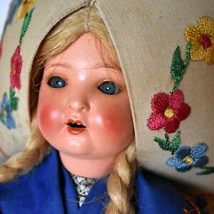 RARE Schoenau & Hoffmeister Character Doll -Bisque Head, Cloth Body, Celluloid A