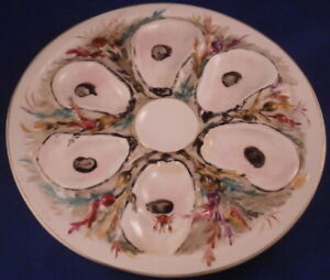 Antique 19thC Union Porcelain Works UPW Round Oyster American Porcelain Plate US