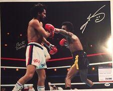 Sugar Ray Leonard and Roberto Duran Autographed 16x20 Boxing Photo PSA/DNA COA