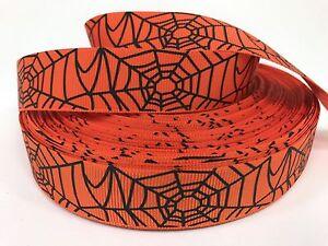 "Sale! 5 Yards 7/8"" Printed Spider Web Halloween Holiday Grosgrain Ribbon  Lisa"