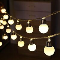 Solar Powered 20 30 LED Retro Bulb String Lights Outdoor Garden Xmas Fairy Lamps