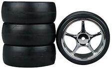 5-Spoke Chrome Wheel, Slick (4) RC Touring Car Wheels/Tire Set 1/10