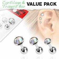Arco iris Tragus piercing 3er Pack set Helix Barbell 1,2 mm 6 mm