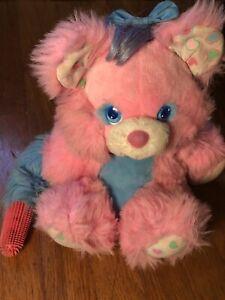 VTG 80s 1987 Brush A Loves Bear Pink Plush Toy RARE Tyco
