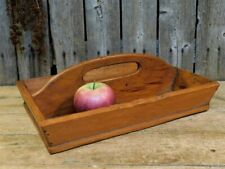 Antique Primitive Wood Knife Box Utensil Carrier Tote
