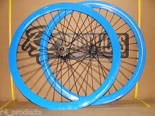 2016 BLUE WHEELSET 700C WHEELS FOR FIXED GEAR BIKE SINGLE SPEED W FLIP FLOP HUB