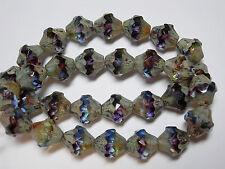 15 11x10mm Czech Glass Blue, Purple, Yellow FAB Picasso Baroque  Bicone Beads