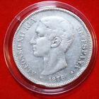 "Spanien 5 Pesetas 1876 Silber Coinage "" Alfonso XII."" DE-M KM#671 #F4634 SS-VF"