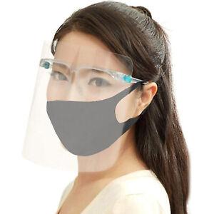 TRANPARENT FULL FACE VISOR HD ANTI FOG GLASSES + REUSABLE WASHABLE FACE MASK