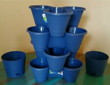 Lot Of 6! 4 New Stackable Planters And 2 Self Draining Matching Pots!