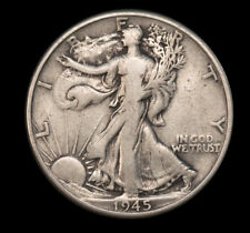 1945 50C Walking Liberty 90% Silver Half Dollar VF + Good Luster *2889 No S/H