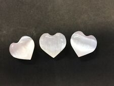 """3 X Small Selenite Puffy Hearts """"40mm Size Puffy Heart Crystals"""""""