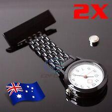 2x Quartz Metal Nurse Chain Brooch Fob Watch Nursing Nurses Pendant Clip Pocket