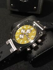 Sug Men's Yellow Carbon Fiber Dial Stainless Steel Square Chronograph Watch