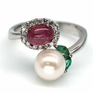 NATURAL WHITE PEARL, RED RUBY, EMERALD & CZ  925 STERLING SILVER RING