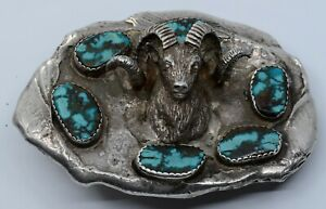 Native American Navajo cast Sterling silver belt buckle turquoise ram head HUGE