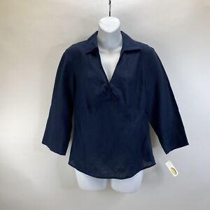 NWT Talbots Pure Irish Linen Navy Blue V Neck Top Blouse Shirt Sz 8 side zipper