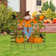 "Glitzhome 41""H Fall Metal Scarecrow Corns Combo Yard Stake Harvest Garden Decor"