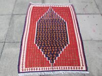 Old Traditional Hand Made Persian Oriental Wool Blue REd Kilim Rug 133x100cm