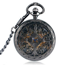 Vintage Black Chinese Knot Automatic Mechanical Fob Chain Grilles Pocket Watch