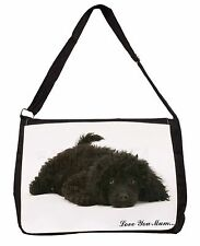 Miniature Poodle 'Love You Mum' Large Black Laptop Shoulder Bag Sc, AD-POD9lymSB
