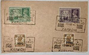 Pakistan zindabad Karachi cancellation 15th August 1947