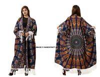 Women Mandala Print Loose Shawl Kimono Cardigan Top Cover up Shirt Blouse Indian
