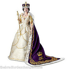 Queen Elizabeth II Poseable Porcelain Commemorative Coronation Portrait Doll