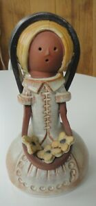 Lg Early Handmade Elisa Spain Ceramic Folk Art Flower Girl Veil Figurine Ribes